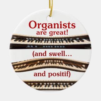 Los organistas son gran ornamento adorno navideño redondo de cerámica