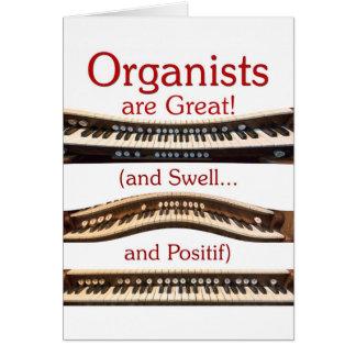 Los organistas son gran tarjeta en blanco