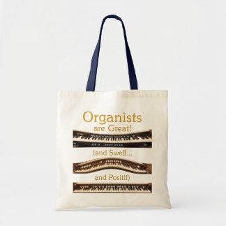 Los organistas son gran tote del presupuesto en na bolsa tela barata