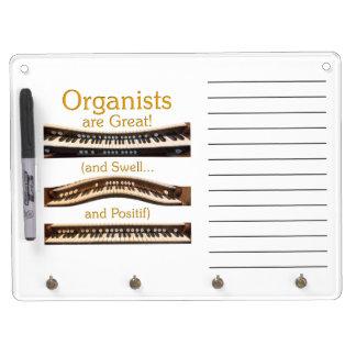 Los organistas son grandes secan al tablero del bo pizarras blancas