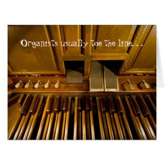 Los organistas tocan con la punta del pie tarjeta de felicitación grande