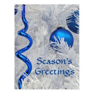 Los ornamentos azules del navidad cutomize tarjetas postales