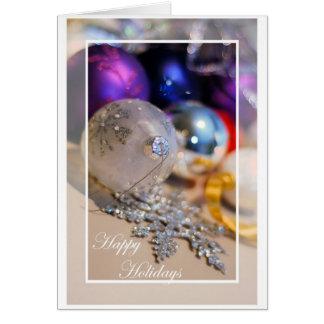 Los ornamentos - buenas fiestas - esconden dentro tarjeta de felicitación