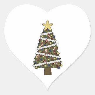 ¡Los ornamentos de ChristmasTree - elija un color! Pegatina En Forma De Corazón