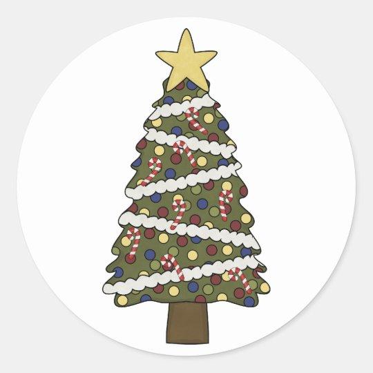 ¡Los ornamentos de ChristmasTree - elija un color! Pegatina Redonda