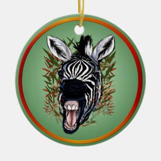Los ornamentos de risa de la cebra adornos de navidad