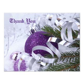 Los ornamentos púrpuras chispeantes le agradecen invitación 10,8 x 13,9 cm