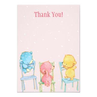 """Los osos amarillos, rosados, y azules le agradecen invitación 5"""" x 7"""""""