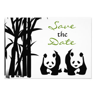 Los osos de panda y el boda de bambú ahorran la fe invitación personalizada
