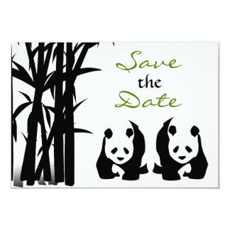 """Los osos de panda y el boda de bambú ahorran la invitación 3.5"""" x 5"""""""