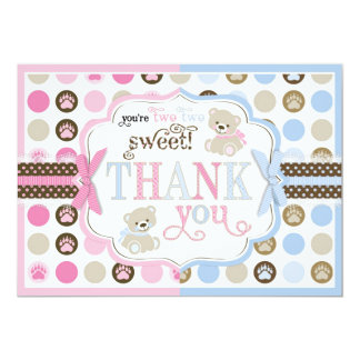 Los osos de peluche azules y rosados le agradecen invitación 12,7 x 17,8 cm