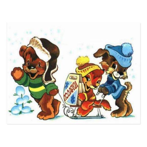 Los osos de peluche, bearly tobogganing, navidad postal
