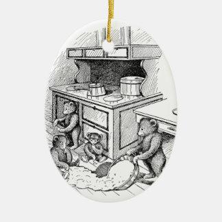 Los osos de peluche hacen un lío en la cocina adorno navideño ovalado de cerámica