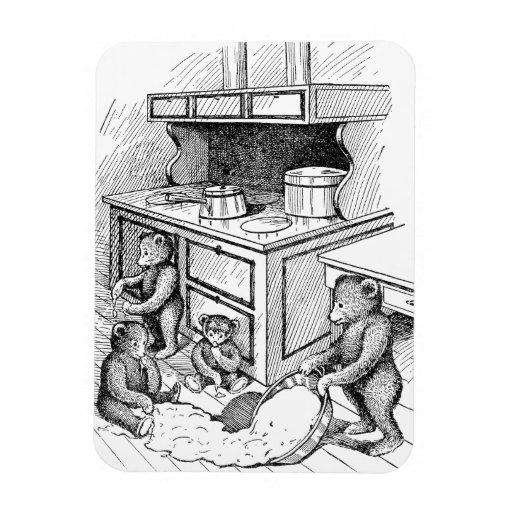 Los osos de peluche hacen un lío en la cocina imán de vinilo