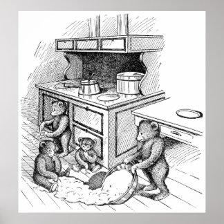 Los osos de peluche hacen un lío en la cocina posters