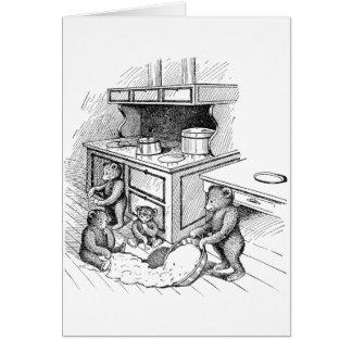 Los osos de peluche hacen un lío en la cocina tarjetón