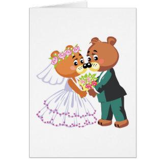 los osos de peluche lindos de novia y del novio di tarjeta de felicitación