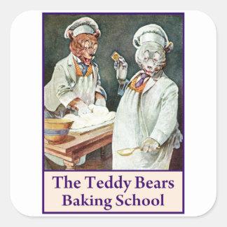 Los osos de peluche que cuecen la escuela calcomania cuadradas personalizadas