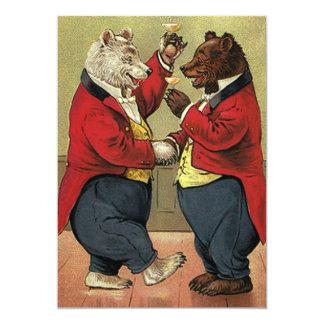 Los osos del baile del Victorian del vintage Invitación 12,7 X 17,8 Cm