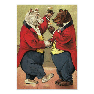 """Los osos del baile del Victorian del vintage Invitación 5"""" X 7"""""""