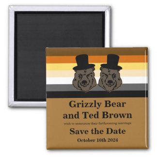 Los osos del orgullo del oso ahorran el boda gay imán cuadrado