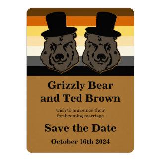 Los osos del orgullo del oso ahorran la invitación invitación 16,5 x 22,2 cm