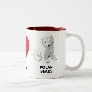 los osos polares del amor de la paz ahorran los taza de dos tonos