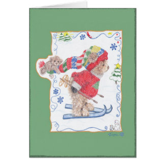 Los osos van a esquiar tarjeta de felicitación