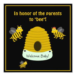"""Los padres a la abeja manosean la fiesta de invitación 5.25"""" x 5.25"""""""