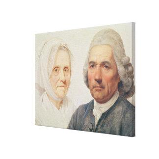 Los padres del artista (aceite en lona) impresión en lienzo