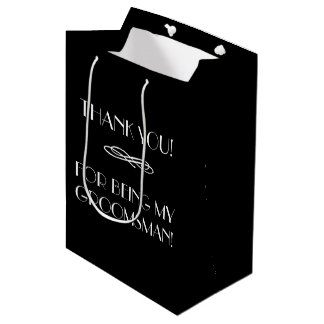 Los padrinos de boda o el mejor hombre le bolsa de regalo mediana