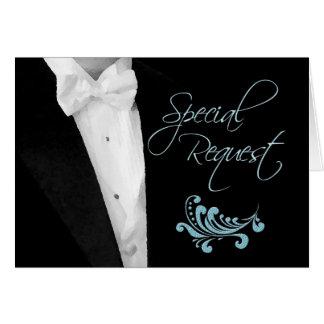Los padrinos de boda piden para casar al asistente tarjeta de felicitación