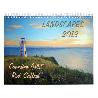 Los paisajes hacen calendarios por el artista Rick