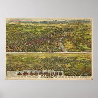 Los pájaros 1894 de Los Ángeles CA observan el map Posters