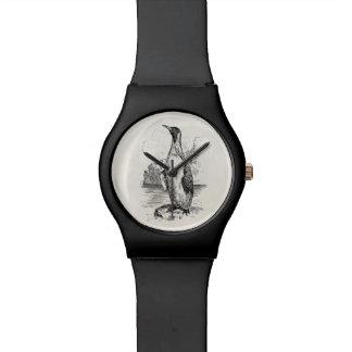 Los pájaros árticos del pingüino del vintage relojes de mano