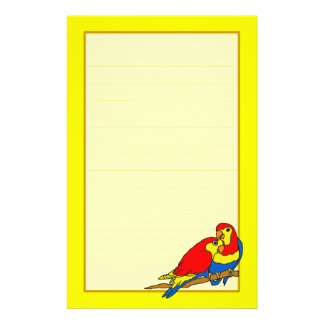 Los pájaros azules amarillos rojos del amor multan  papeleria