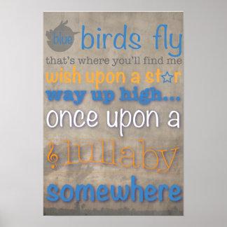 Los pájaros azules vuelan el poster gráfico