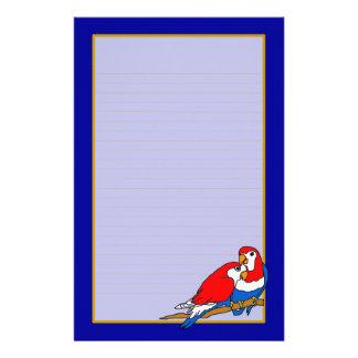 Los pájaros blancos y azules rojos del amor multan personalized stationery