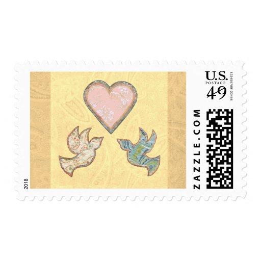 Los pájaros bonitos del amor de la esperanza de la sello