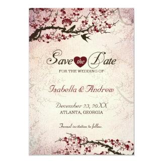 """Los pájaros de la flor de cerezo y del amor invitación 5"""" x 7"""""""