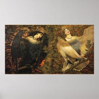 Los pájaros de la impresión del poster de la alegr