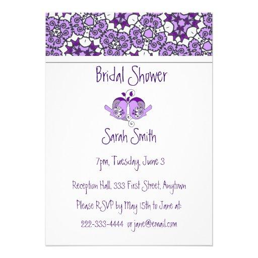 Los pájaros de la lavanda y la ducha florales púrp invitaciones personalizada