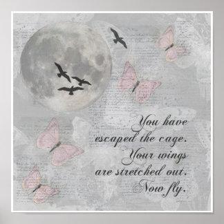 Los pájaros de la luna vuelan arte del collage de póster