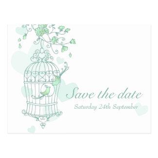 Los pájaros de la menta abren reserva del boda de tarjeta postal