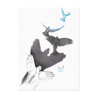 Los pájaros de la sombra de las manos de las ilusi lienzo envuelto para galerias