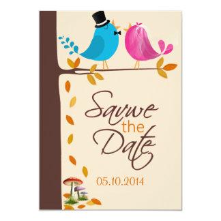 Los pájaros de los pares en la rama  Fall ahorran Invitación