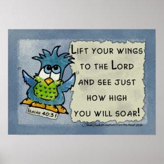 Los pájaros de ruegan - elévese póster