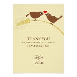 """Los pájaros del amor 5,5"""" x 7,5"""" boda le agradecen anuncios personalizados"""