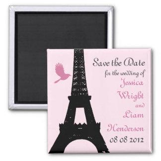 Los pájaros del amor ahorran la fecha (el rosa) imán de nevera