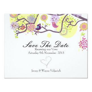 """Los pájaros del amor ahorran la tarjeta de fecha invitación 4.25"""" x 5.5"""""""